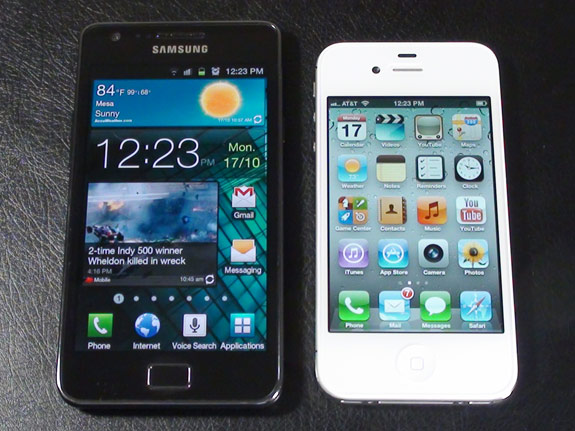 Samsung Galaxy II 4G Android versus Apple's iPhone iOS